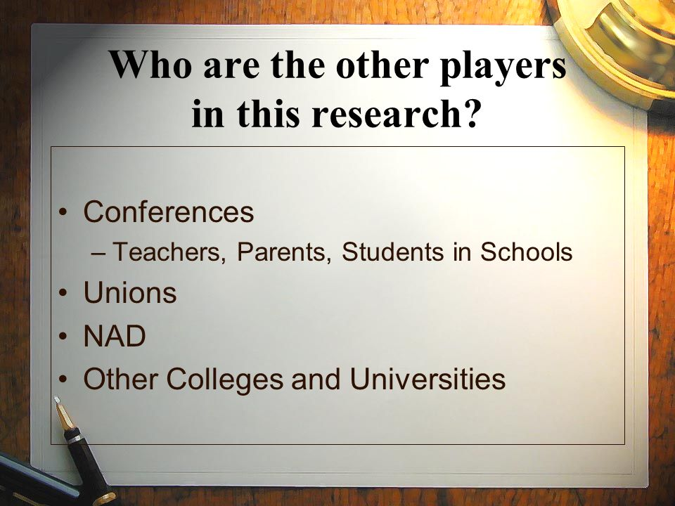 Who are the other players in this research