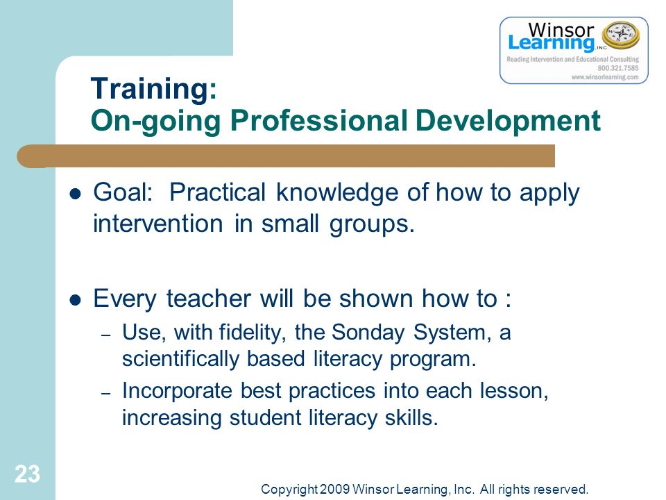 Training: On-going Professional Development
