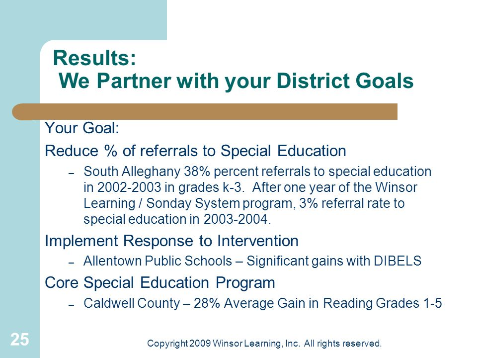 Results: We Partner with your District Goals