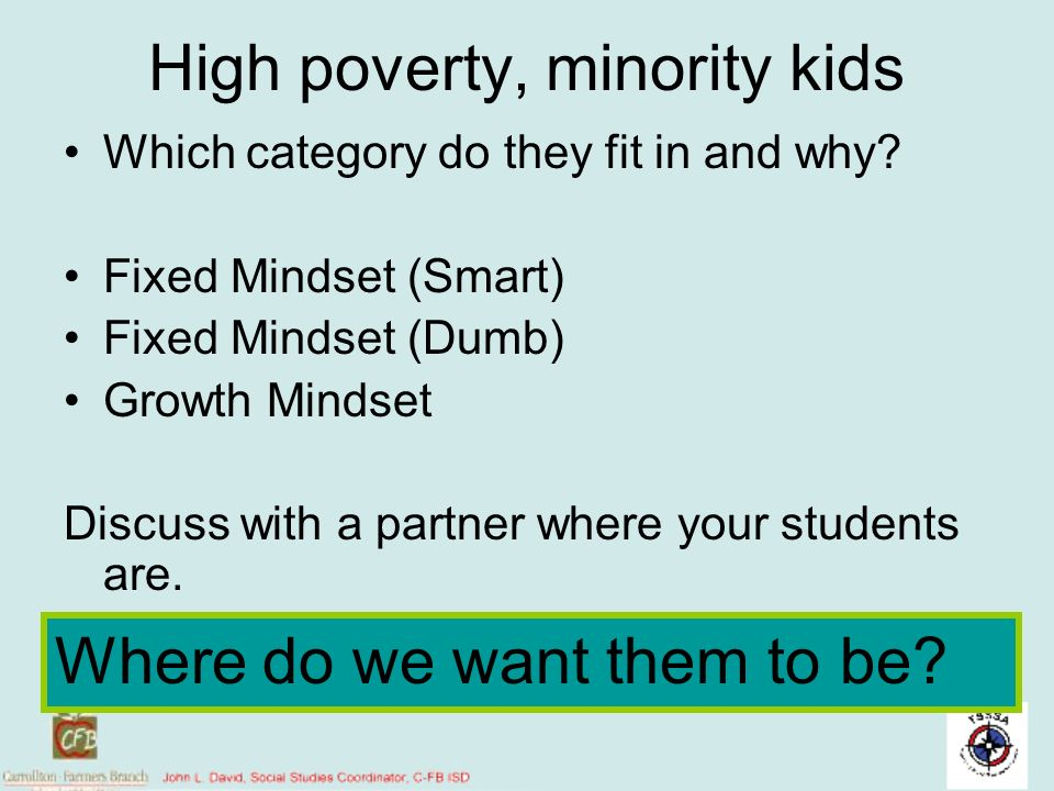 High poverty, minority kids