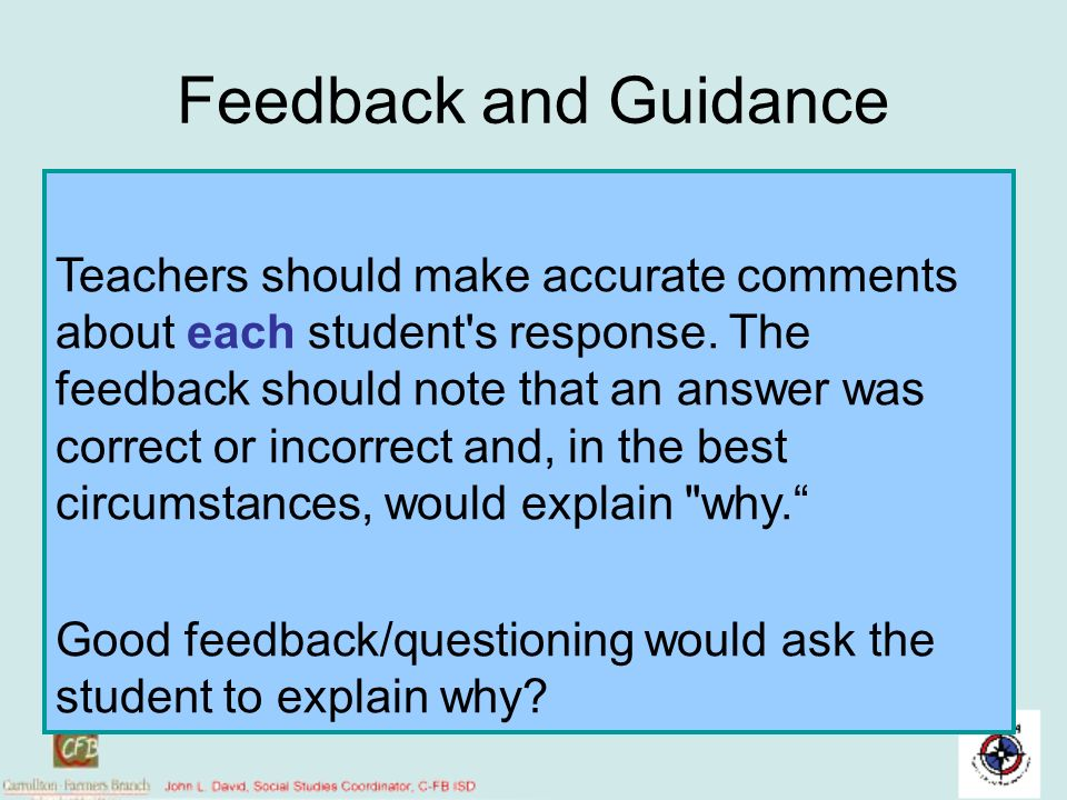 Feedback and Guidance