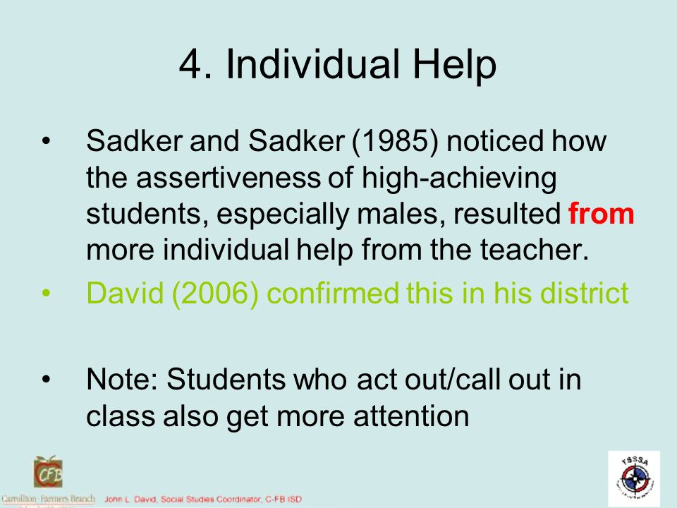 4. Individual Help
