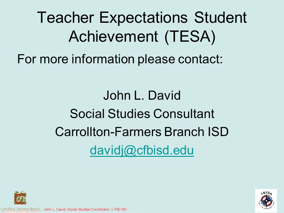 Teacher Expectations Student Achievement (TESA)