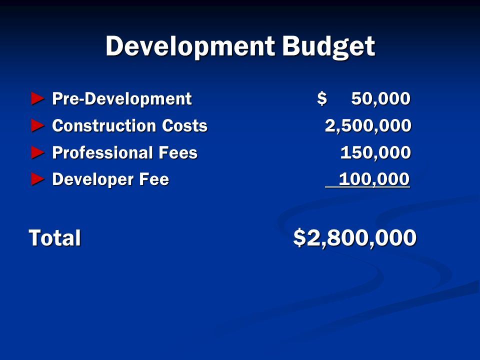 Development Budget Total $2,800,000 ► Pre-Development $ 50,000