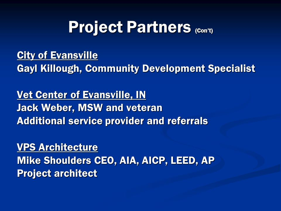 Project Partners (Con't)