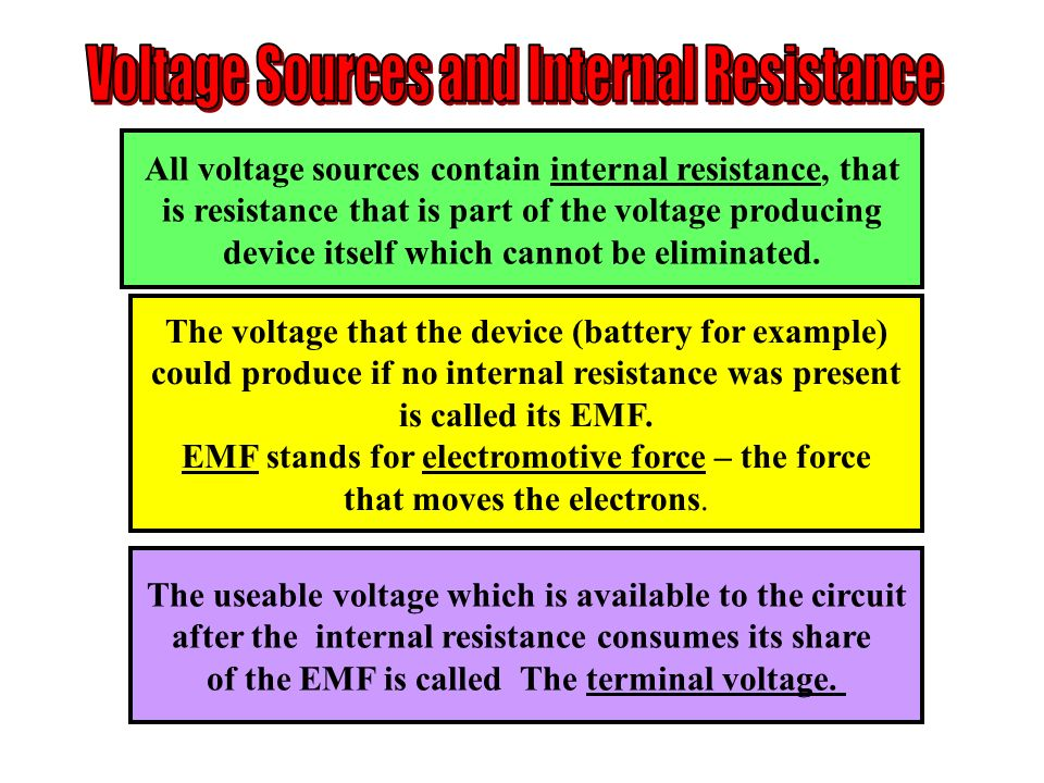 Voltage Sources and Internal Resistance