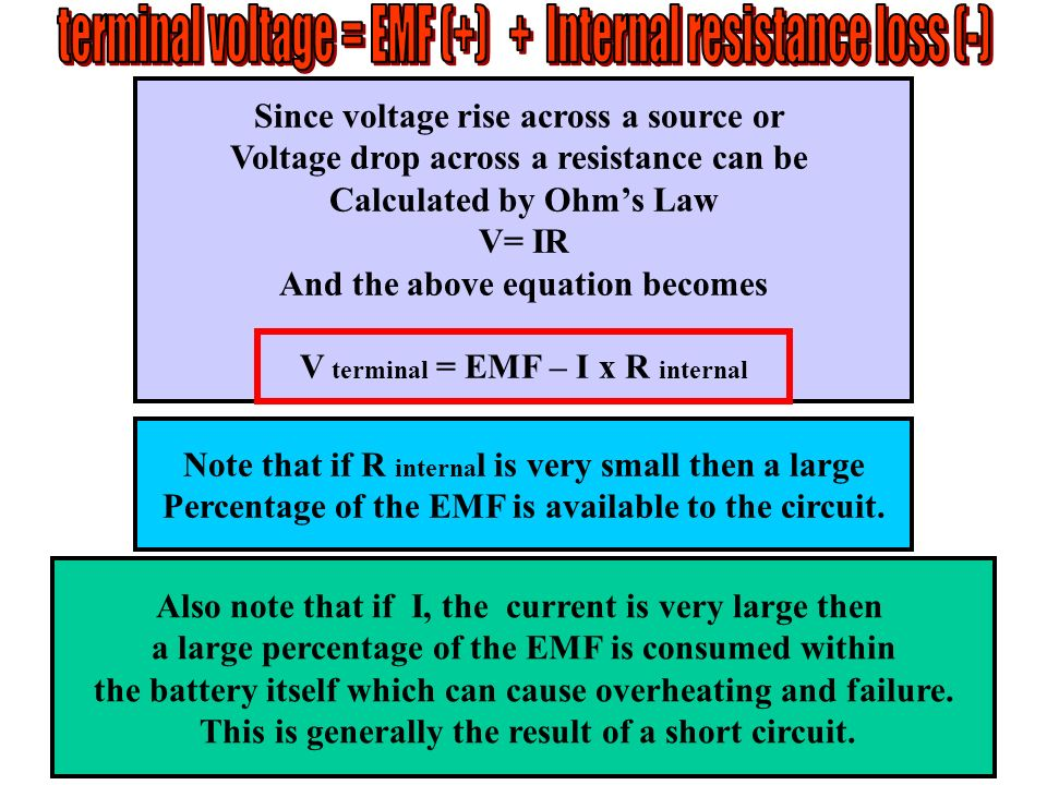 terminal voltage = EMF (+) + Internal resistance loss (-)