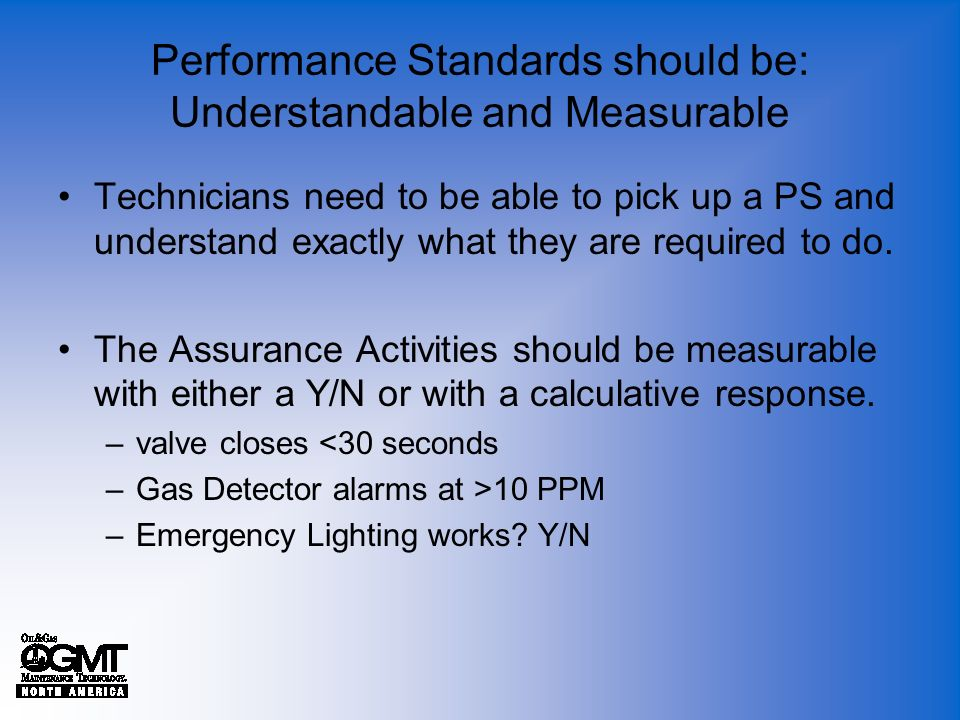 Performance Standards should be: Understandable and Measurable