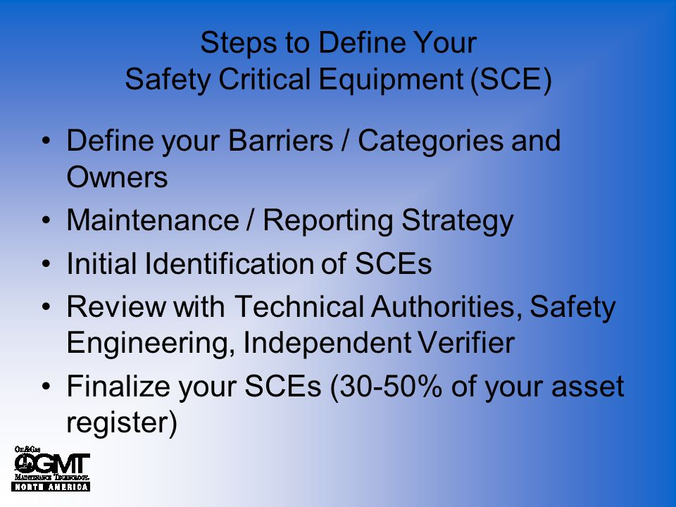 Steps to Define Your Safety Critical Equipment (SCE)