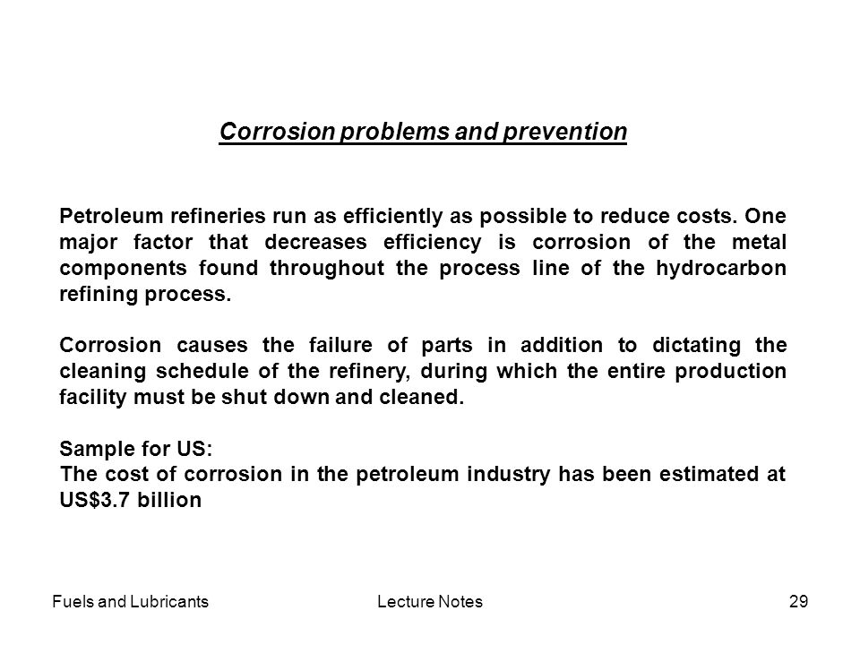 Corrosion problems and prevention