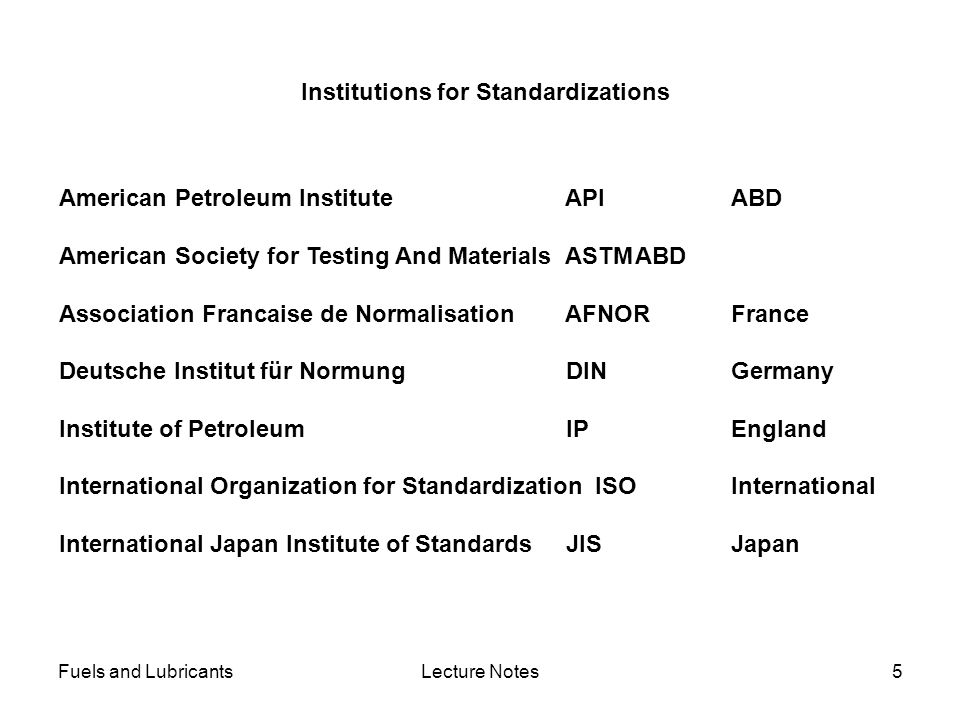 Institutions for Standardizations