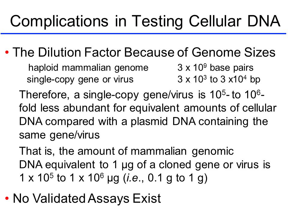 Complications in Testing Cellular DNA