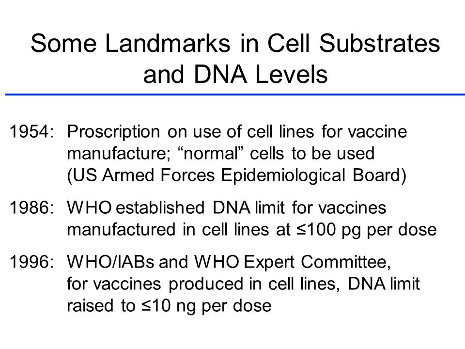 Some Landmarks in Cell Substrates and DNA Levels