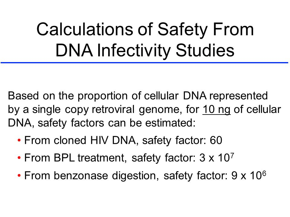 Calculations of Safety From DNA Infectivity Studies