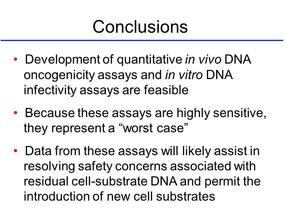 Conclusions • Development of quantitative in vivo DNA