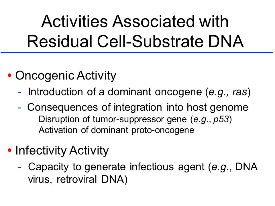 Activities Associated with Residual Cell-Substrate DNA