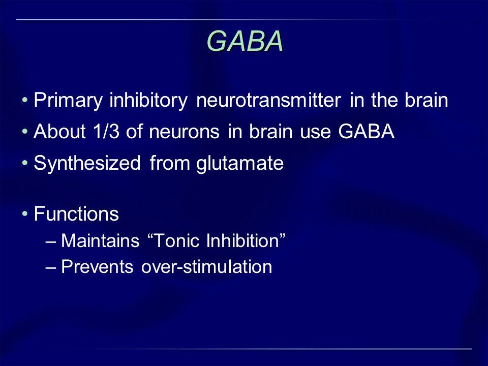 GABA Primary inhibitory neurotransmitter in the brain