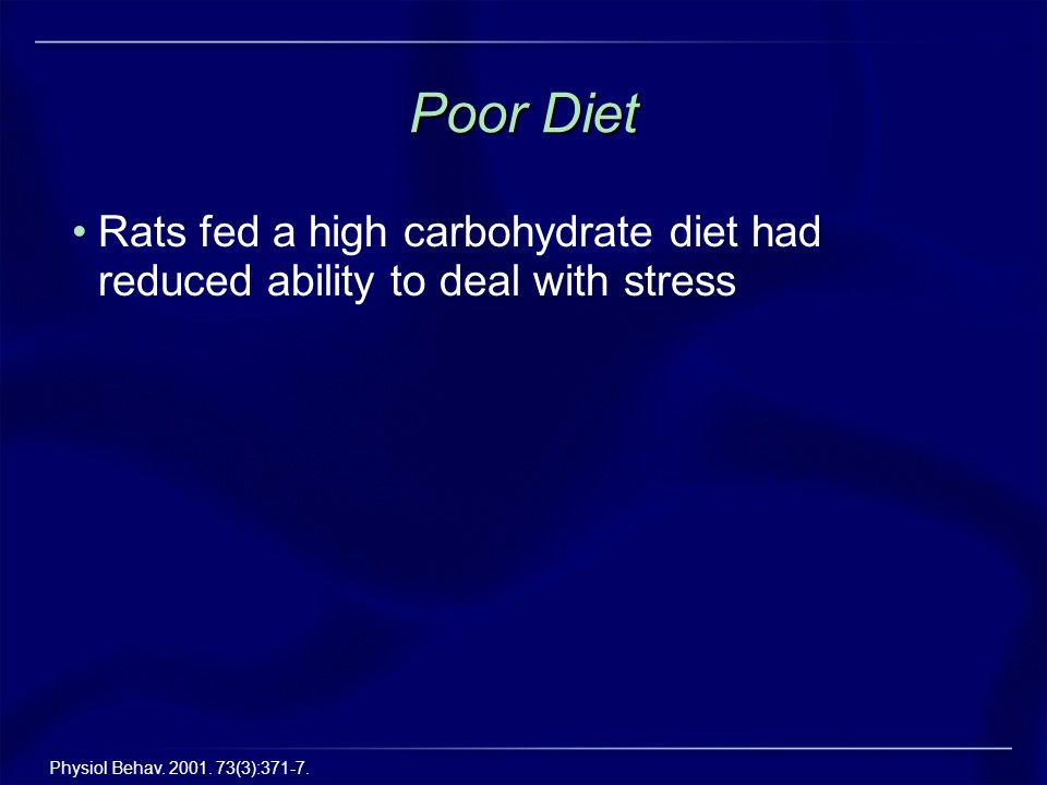 Poor Diet Rats fed a high carbohydrate diet had reduced ability to deal with stress.