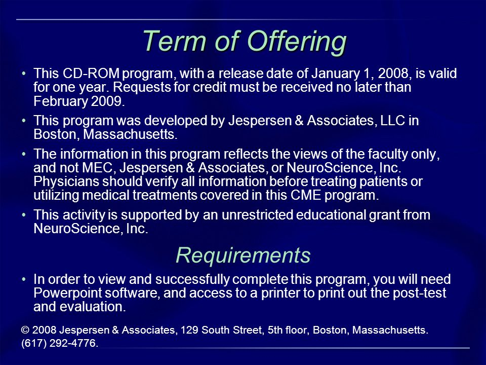 Term of Offering Requirements