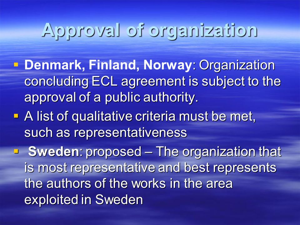 Approval of organization