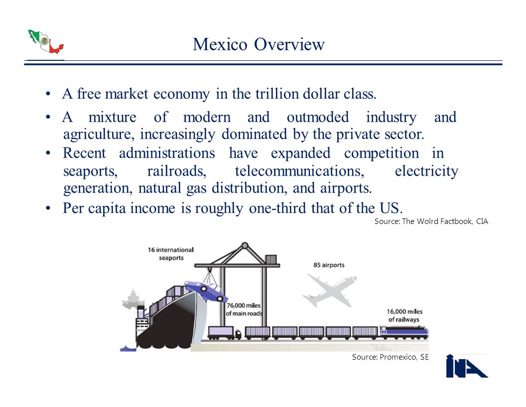 Mexico Overview • A free market economy in the trillion dollar class.