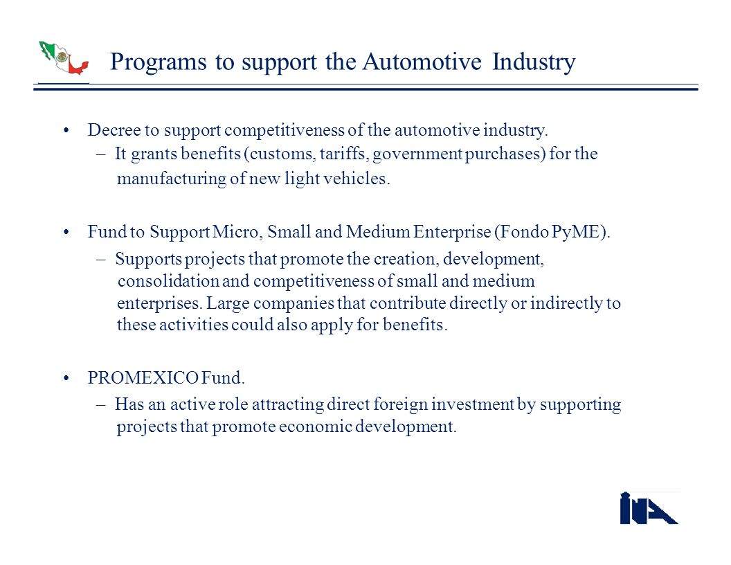 Programs to support the Automotive Industry
