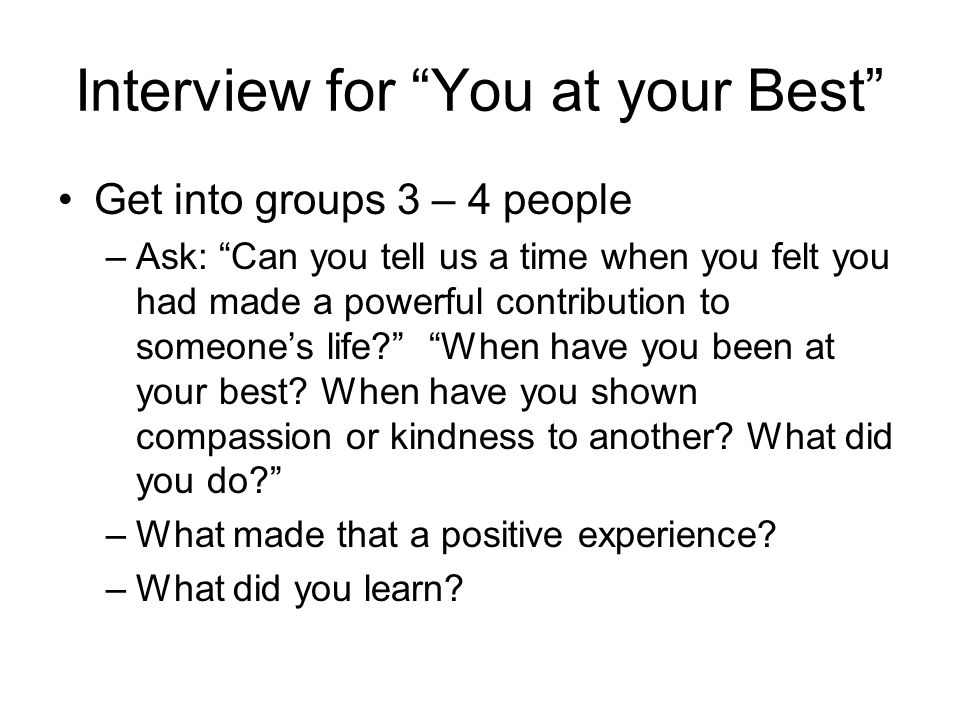 Interview for You at your Best