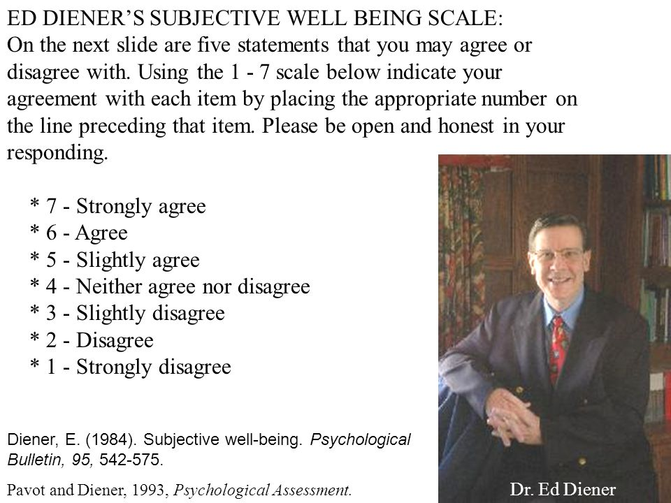 ED DIENER'S SUBJECTIVE WELL BEING SCALE:
