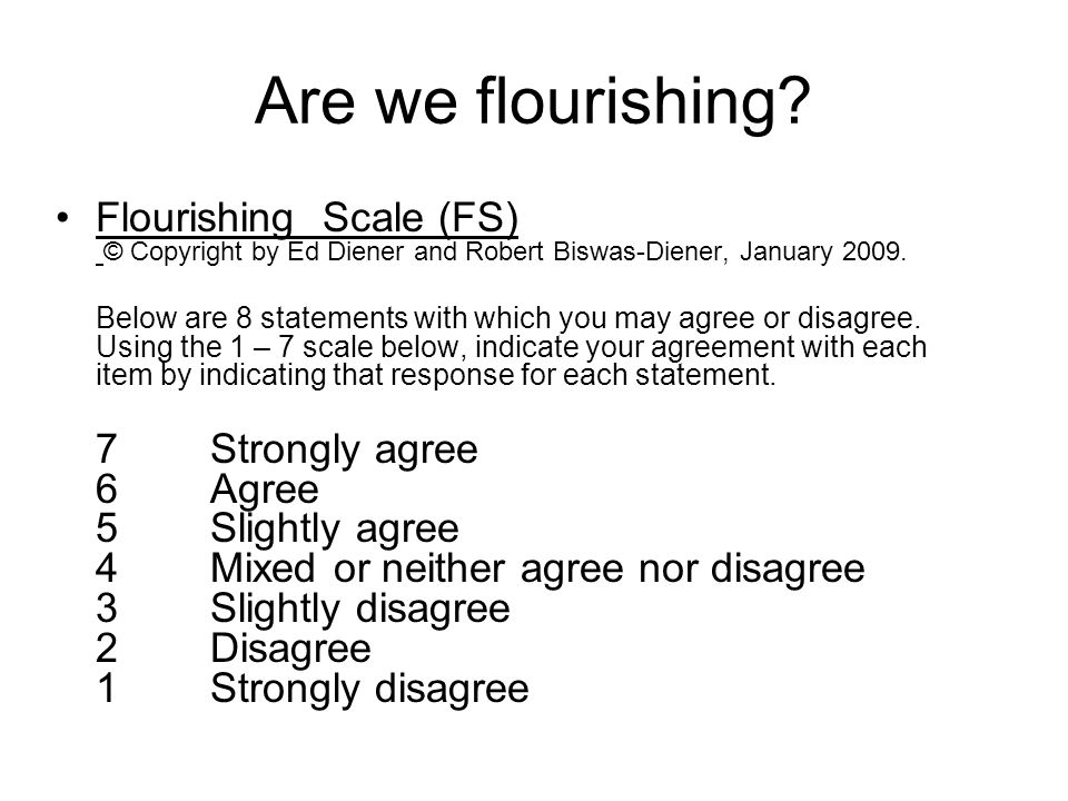 Are we flourishing