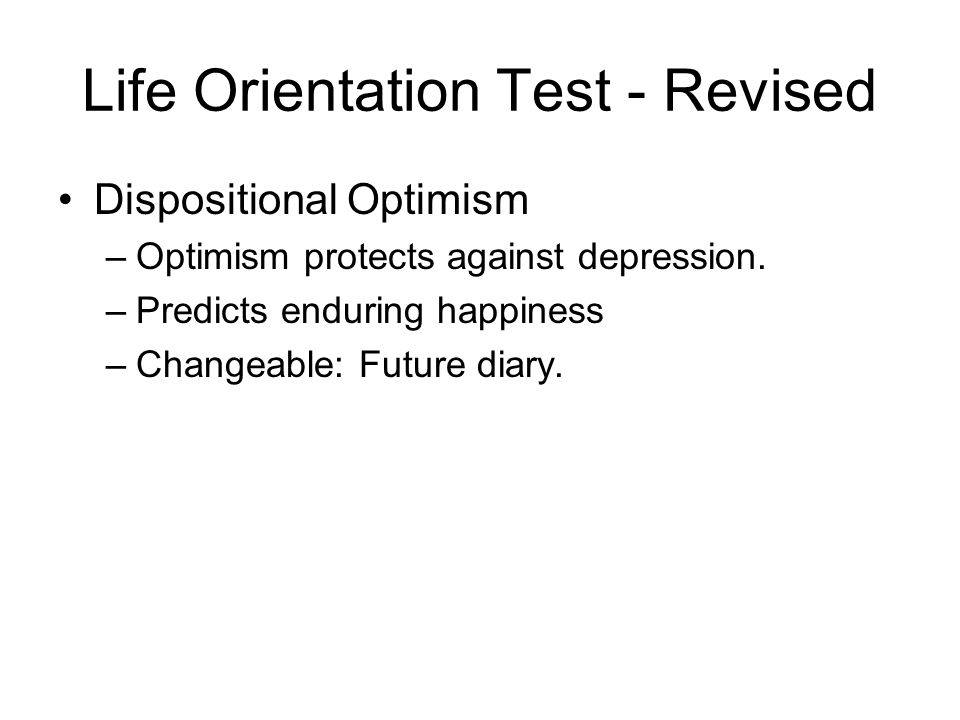 Life Orientation Test - Revised