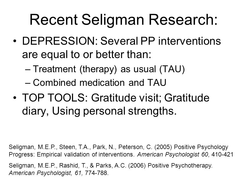Recent Seligman Research: