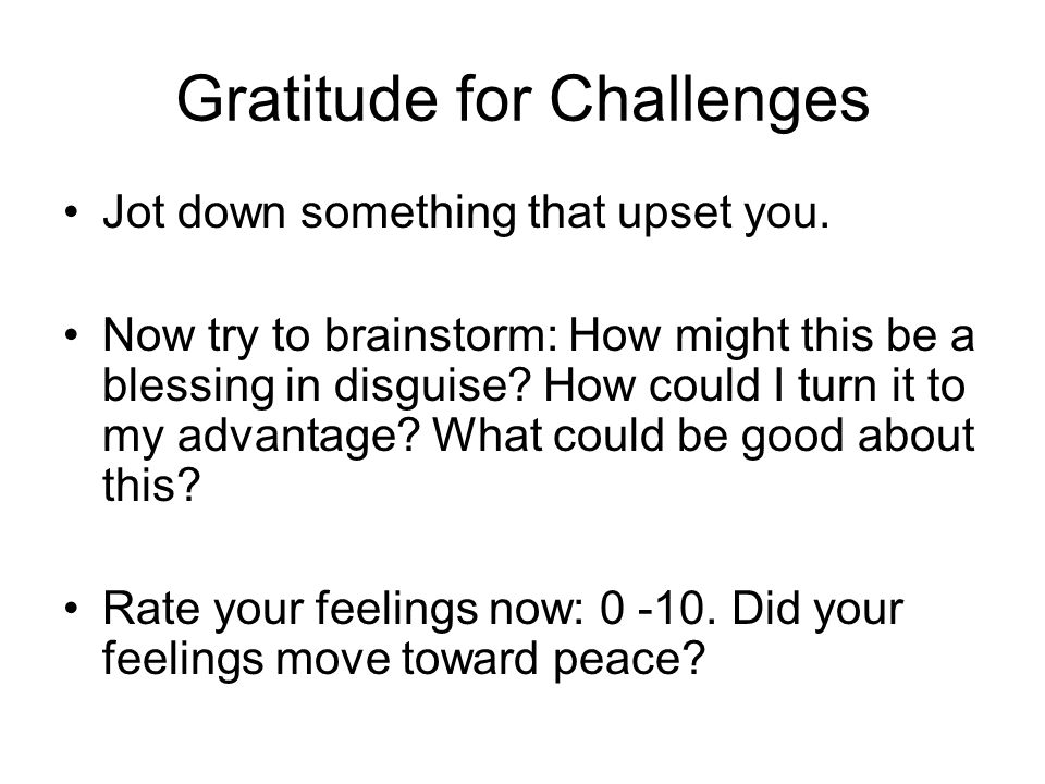 Gratitude for Challenges
