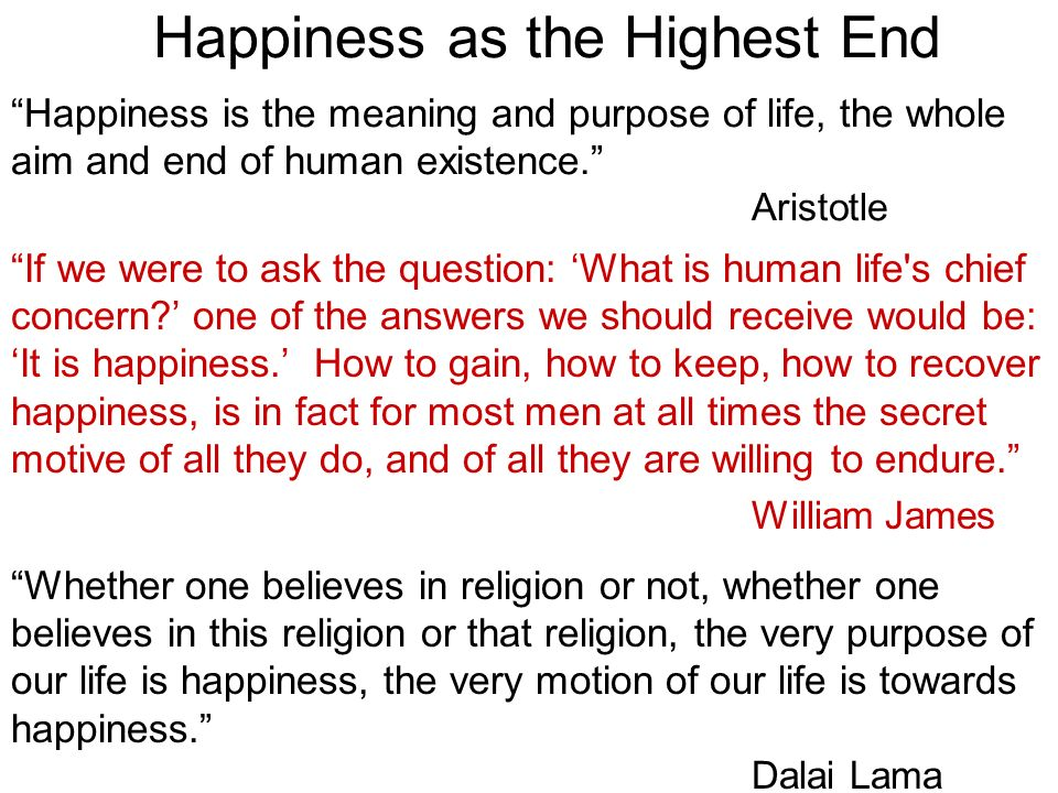 Happiness as the Highest End