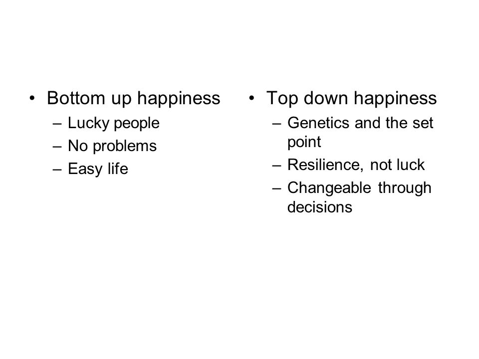 Bottom up happiness Top down happiness Lucky people No problems