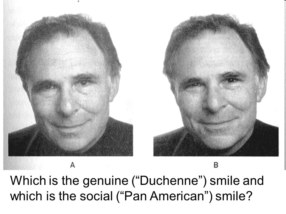 Which is the genuine ( Duchenne ) smile and which is the social ( Pan American ) smile