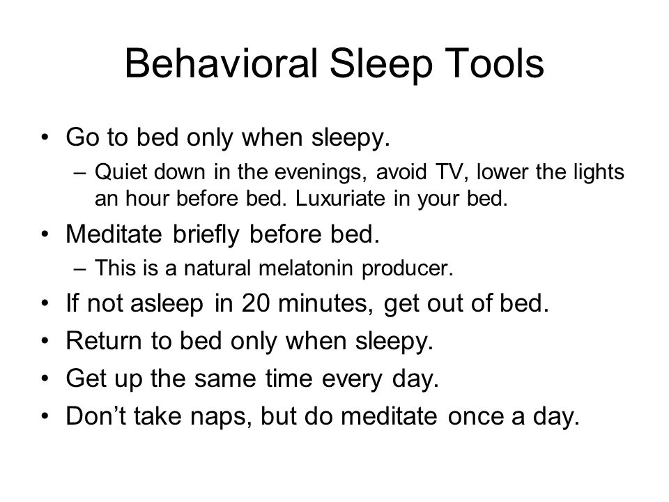 Behavioral Sleep Tools