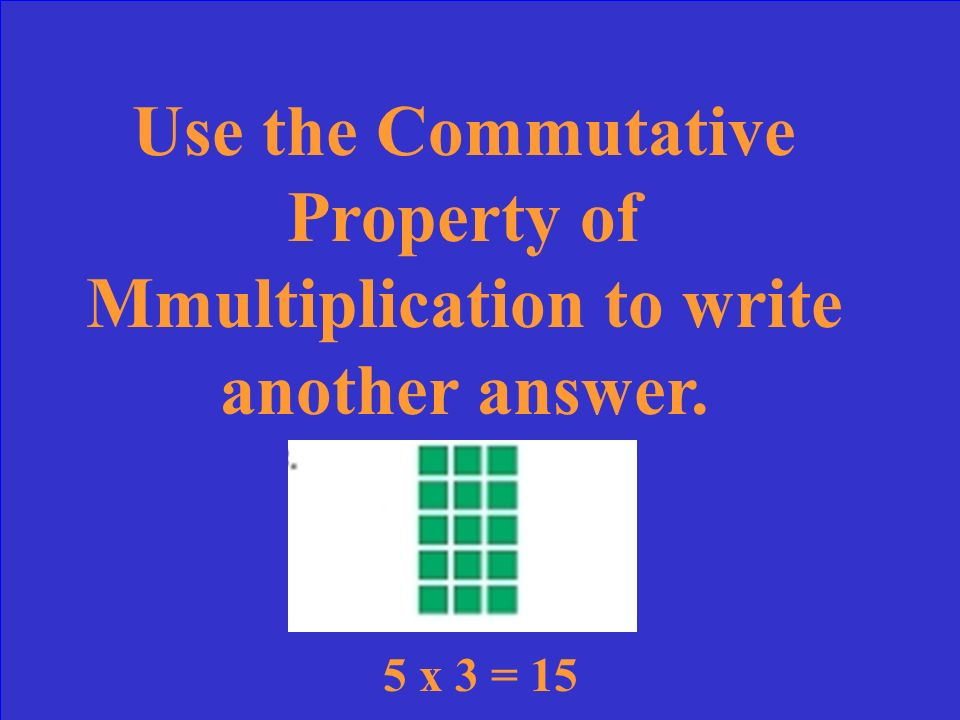 Use the Commutative Property of Mmultiplication to write another answer.