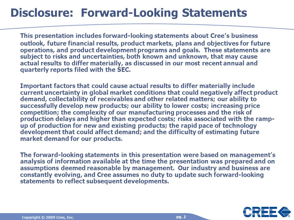 Disclosure: Forward-Looking Statements
