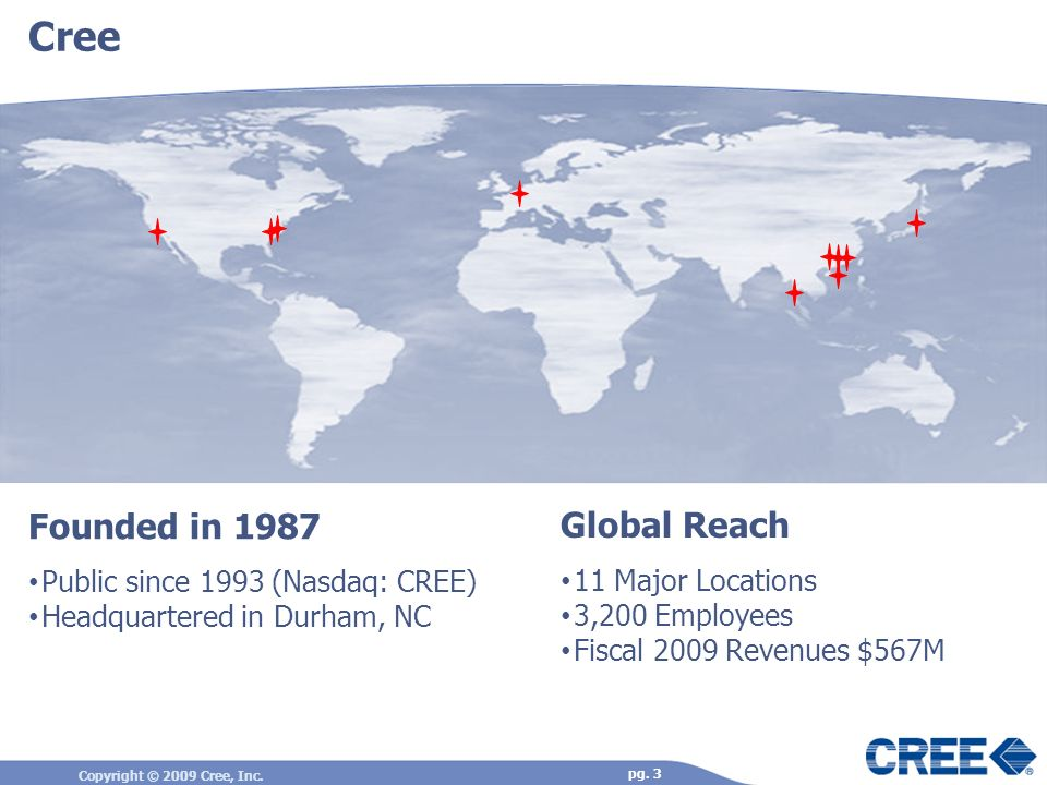 Cree Founded in 1987 Global Reach Public since 1993 (Nasdaq: CREE)
