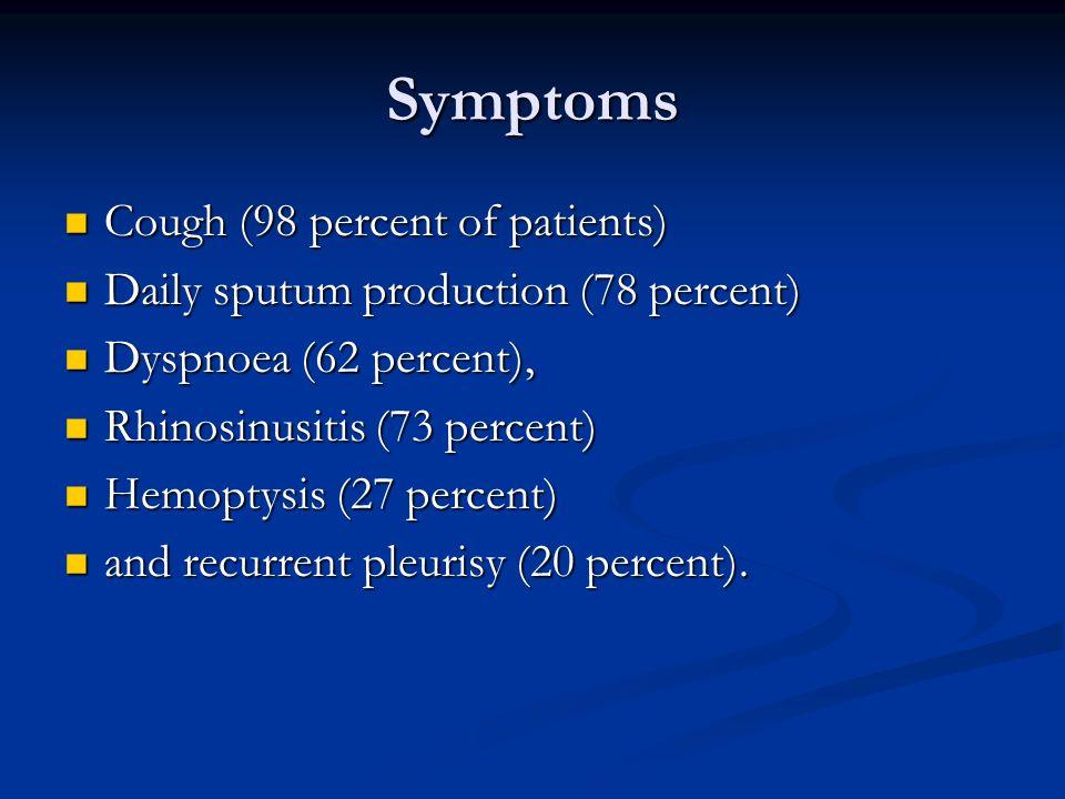 Symptoms Cough (98 percent of patients)