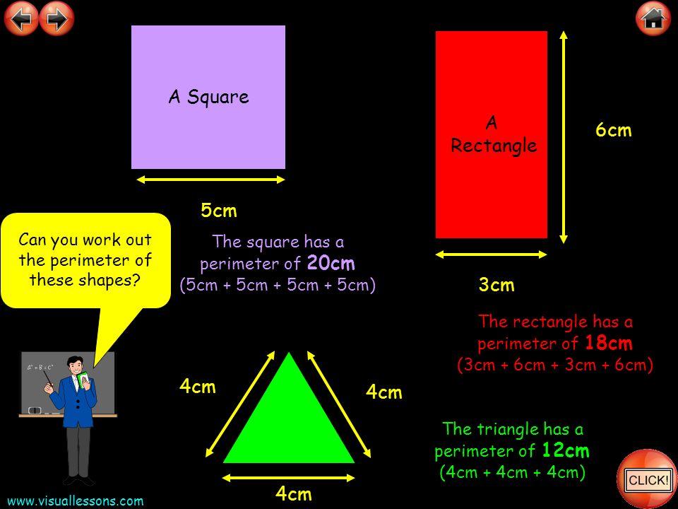 A Square A Rectangle 6cm 5cm 3cm 4cm 4cm 4cm
