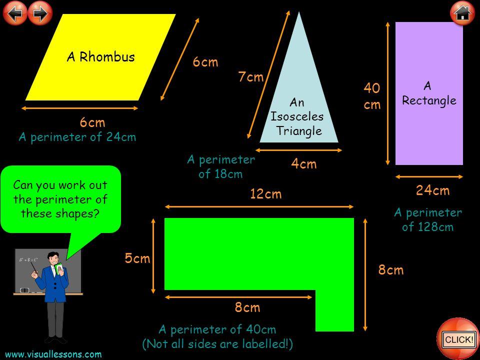 A Rhombus 6cm 7cm 40 cm 6cm 4cm 24cm 12cm 5cm 8cm 8cm