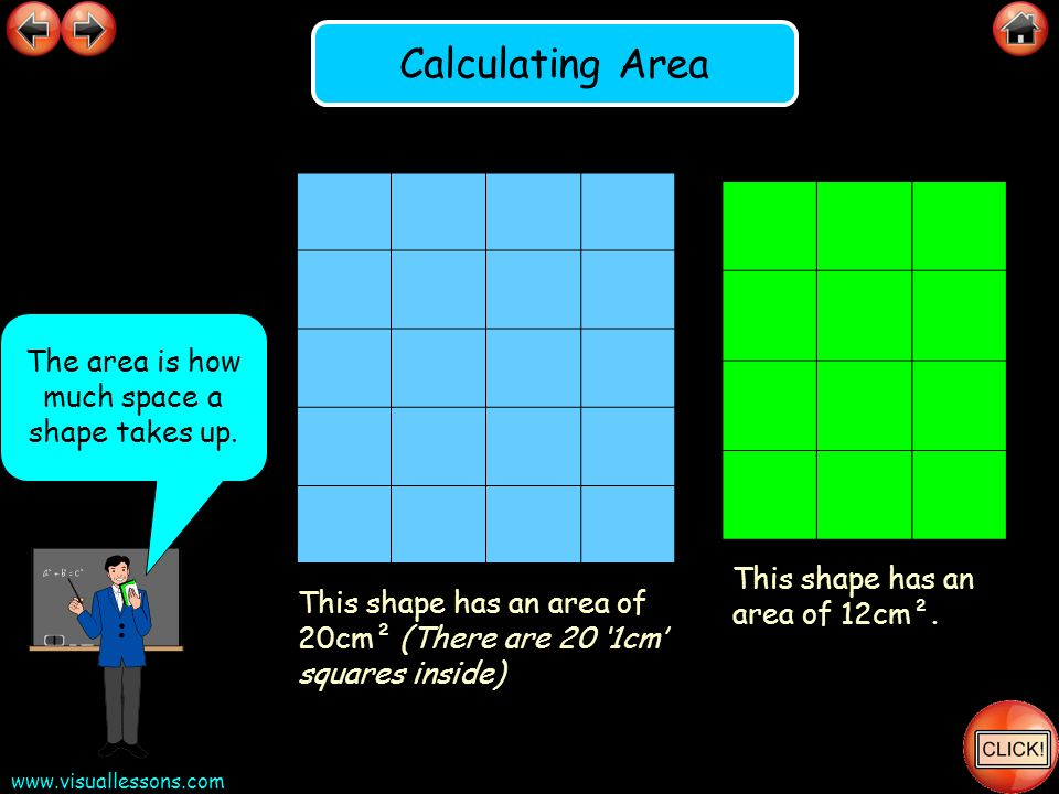 The area is how much space a shape takes up.