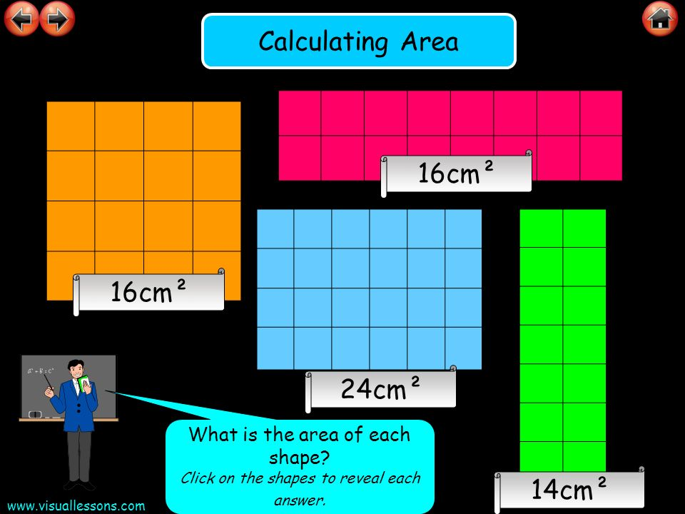 Calculating Area 16cm² 16cm² 24cm² 14cm²