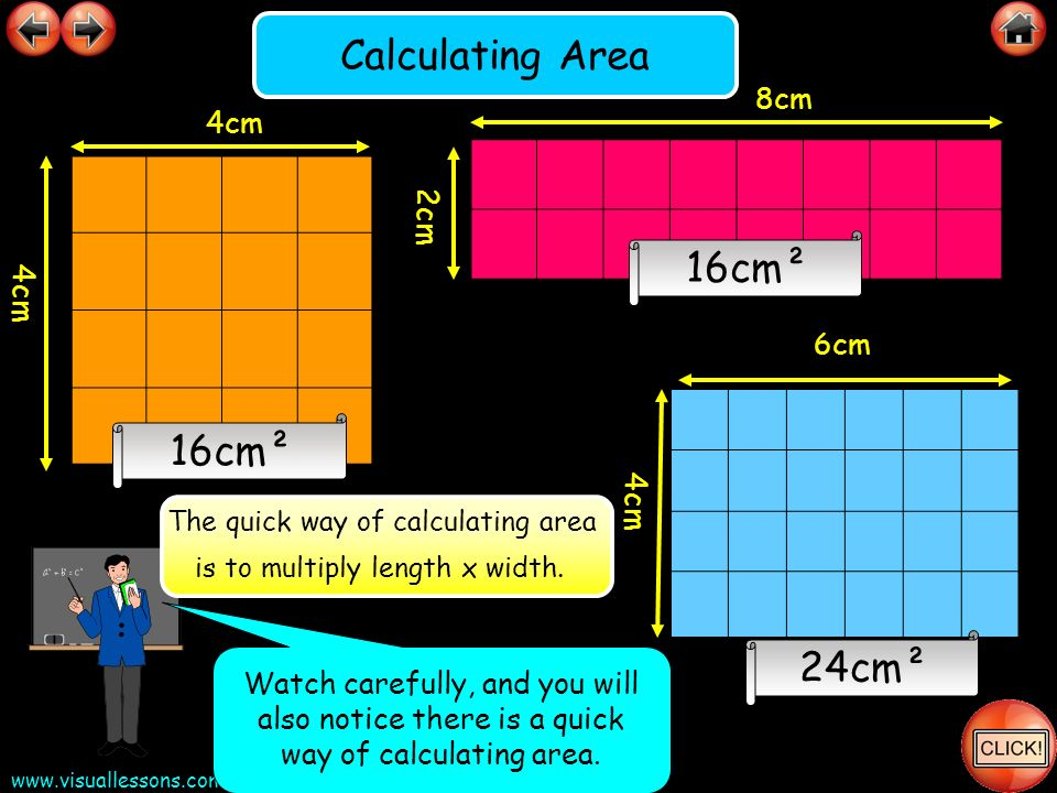 The quick way of calculating area is to multiply length x width.