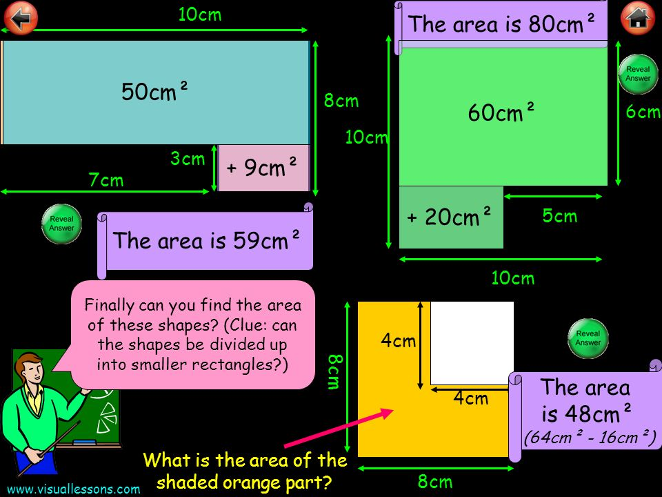 The area is 48cm² (64cm² - 16cm²)