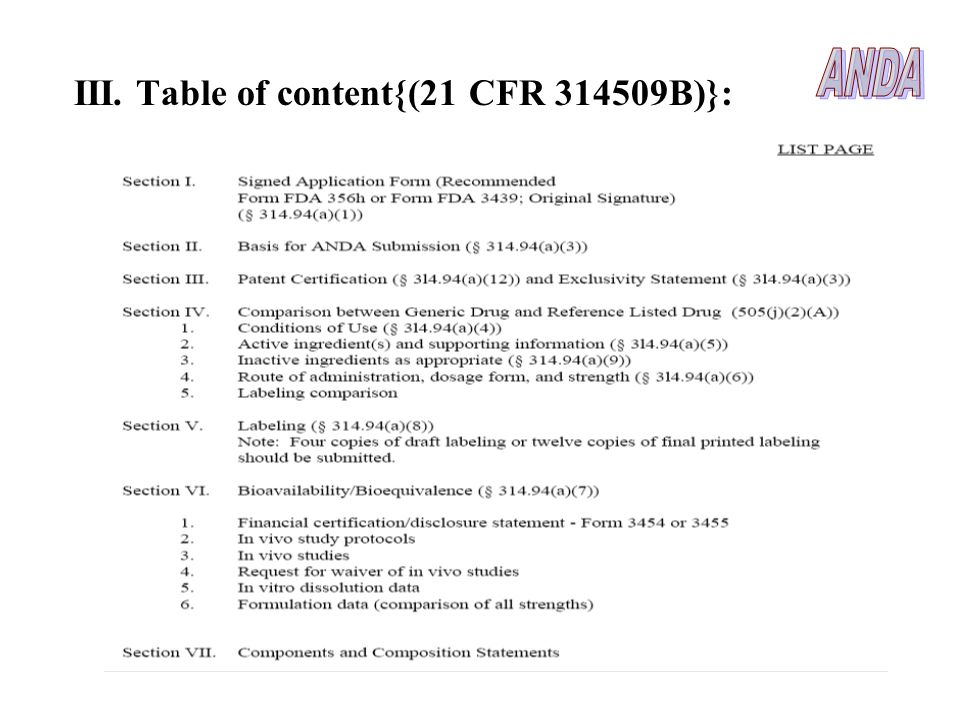 ANDA III. Table of content{(21 CFR 314509B)}: