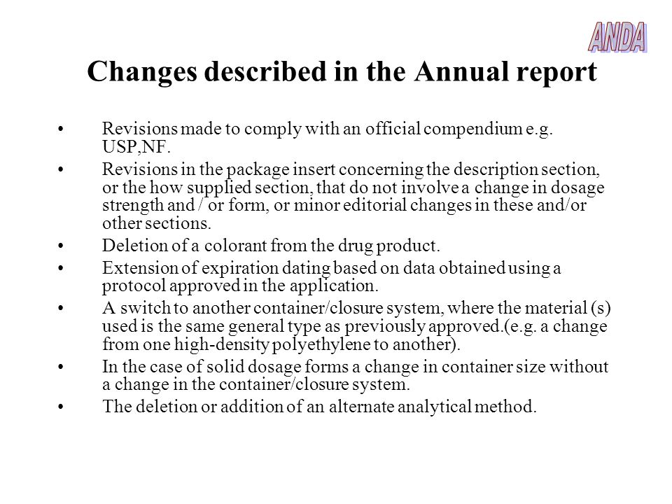 Changes described in the Annual report