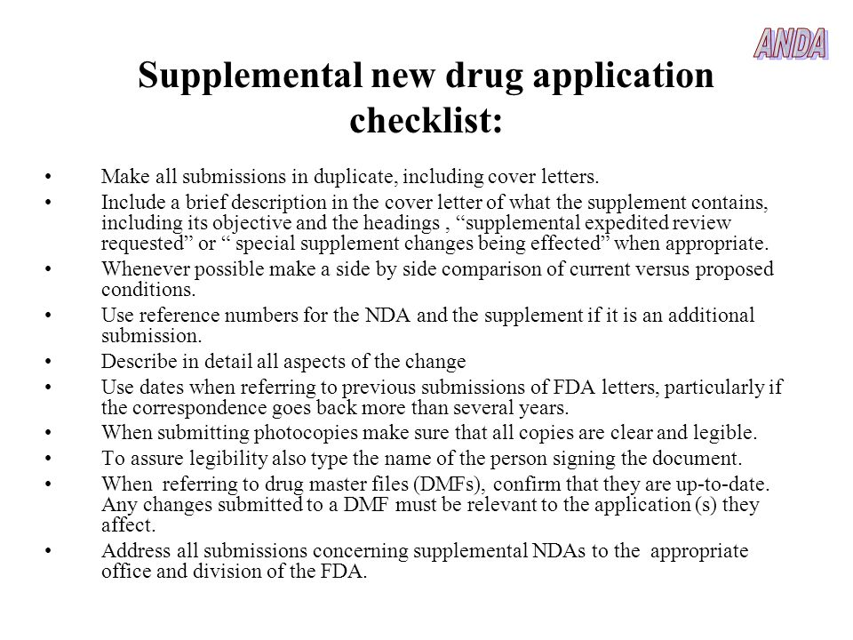 Supplemental new drug application checklist: