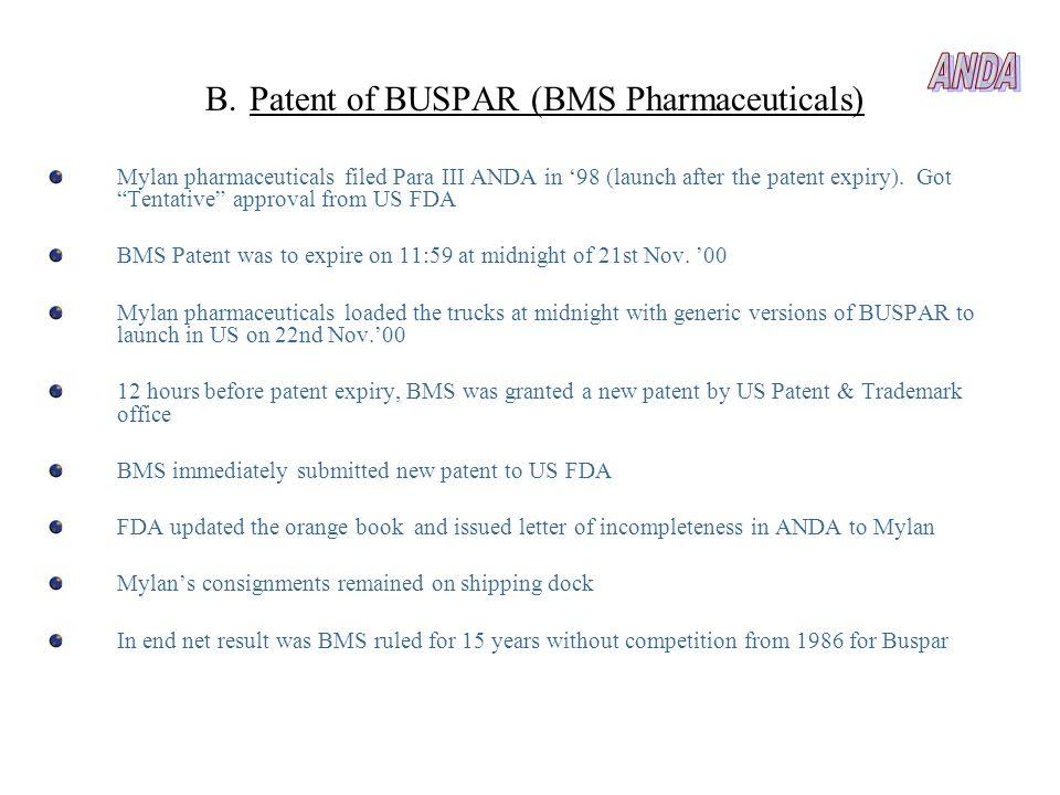 ANDA Patent of BUSPAR (BMS Pharmaceuticals)